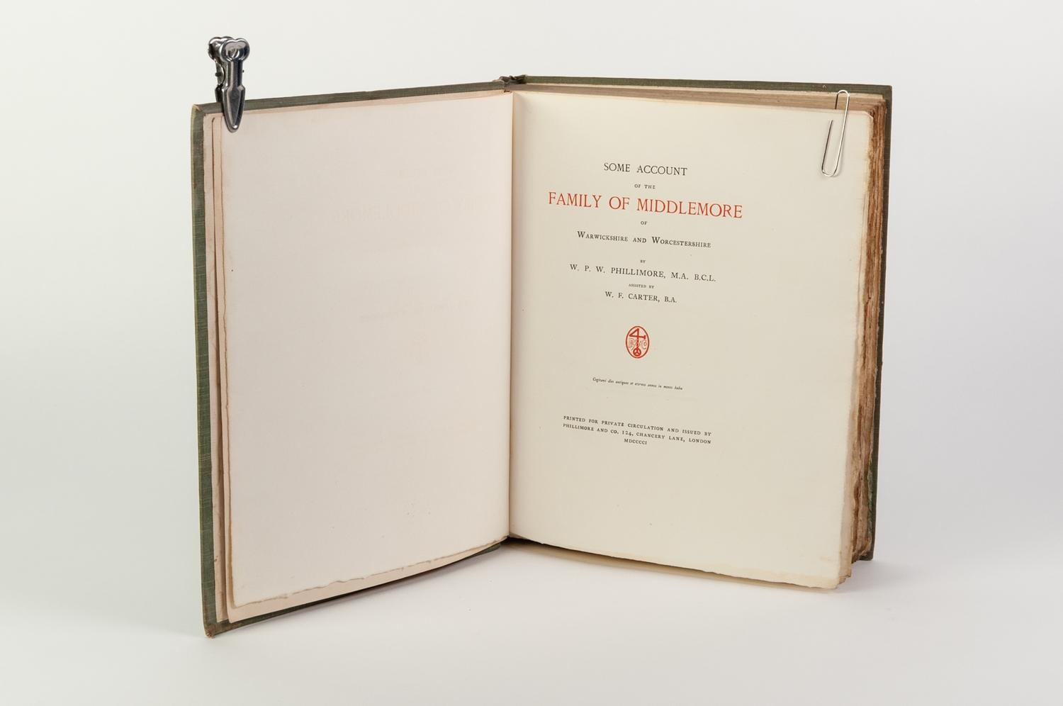 Lot 110 - GENEAOLOGY. Phillimore & Carter- Some Accounts of the Family of Middlemore of WARWIRCKSHIRE AND