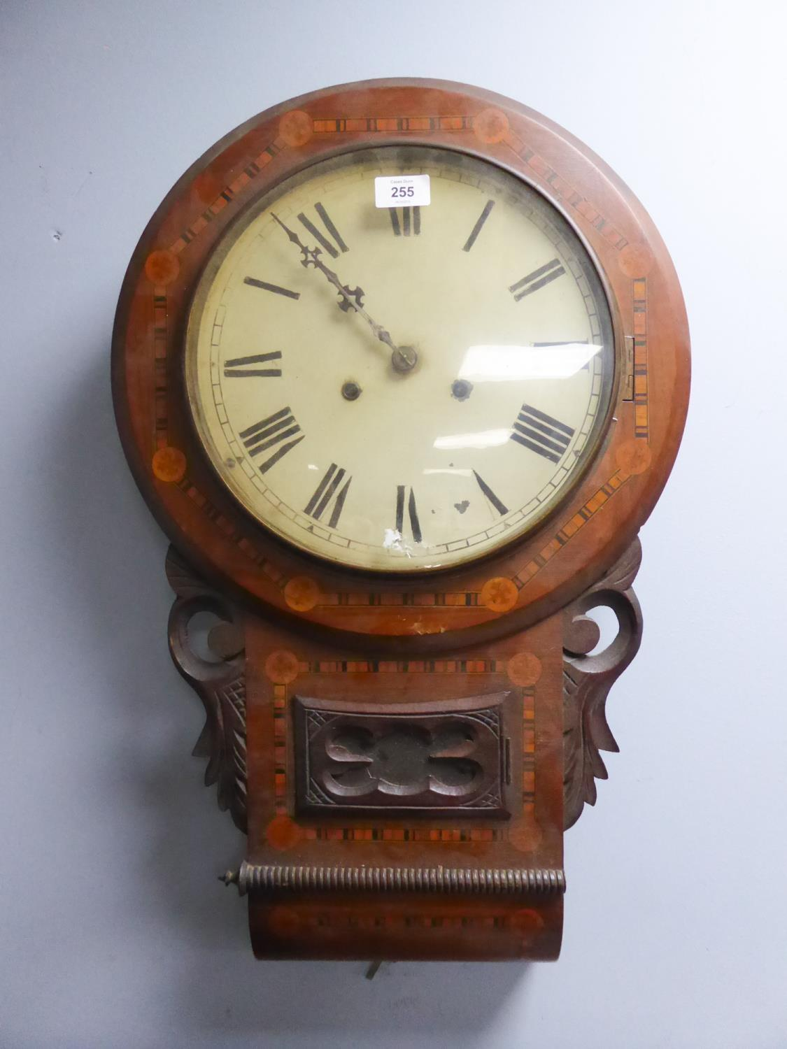 """Lot 46 - LATE NINETEENTH CENTURY LINE INLAID WALNUT DROP DIAL WALL CLOCK, the 11 1/2"""" enamelled Roman dial,"""