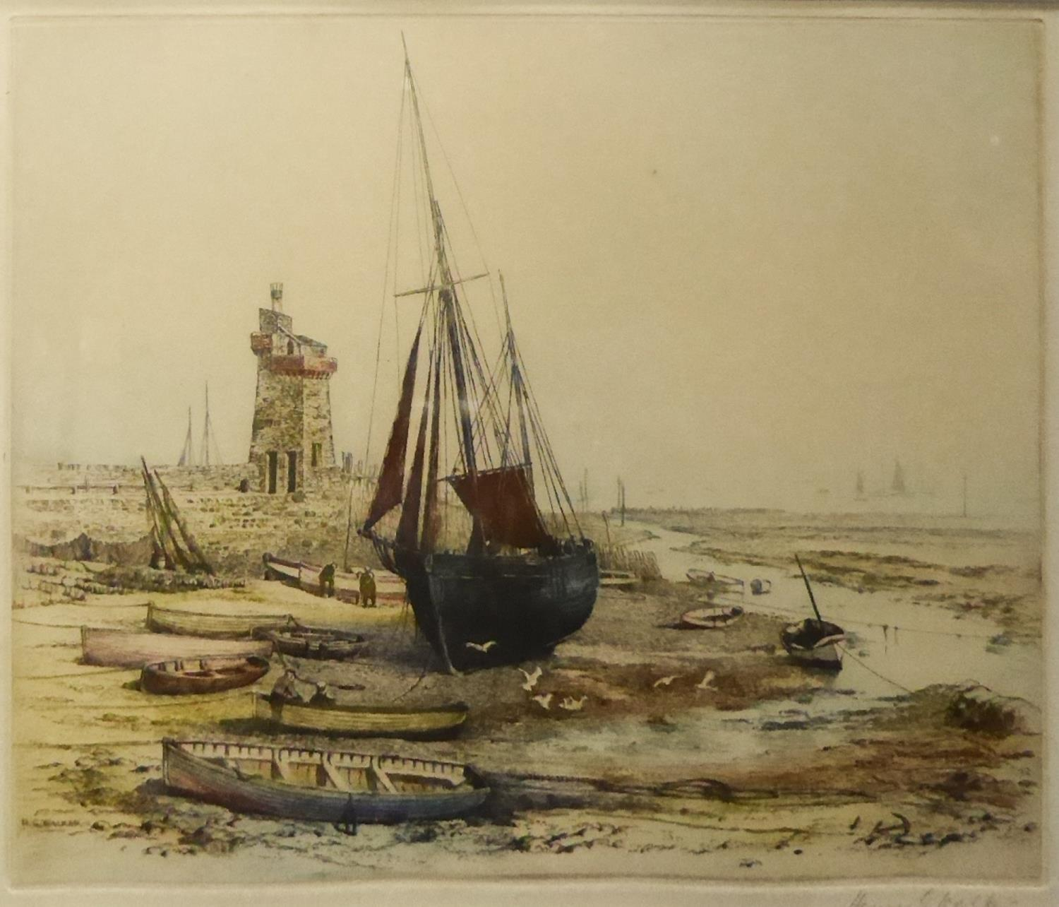 Lot 61 - HENRY G. WALKER (1876-1932) THREE ARTIST SIGNED COLOURED ETCHINGS 'At Robin Hood's Bay', 'The