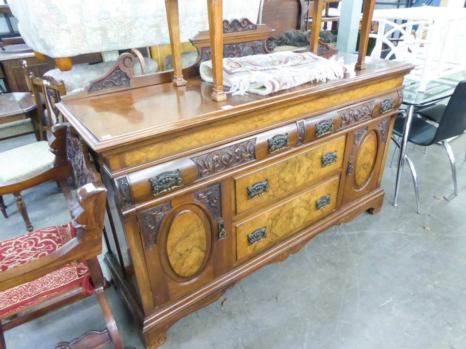 Lot 43 - VICTORIAN CARVED TWO-TONE WALNUTWOOD DRESSER SIDEBOARD