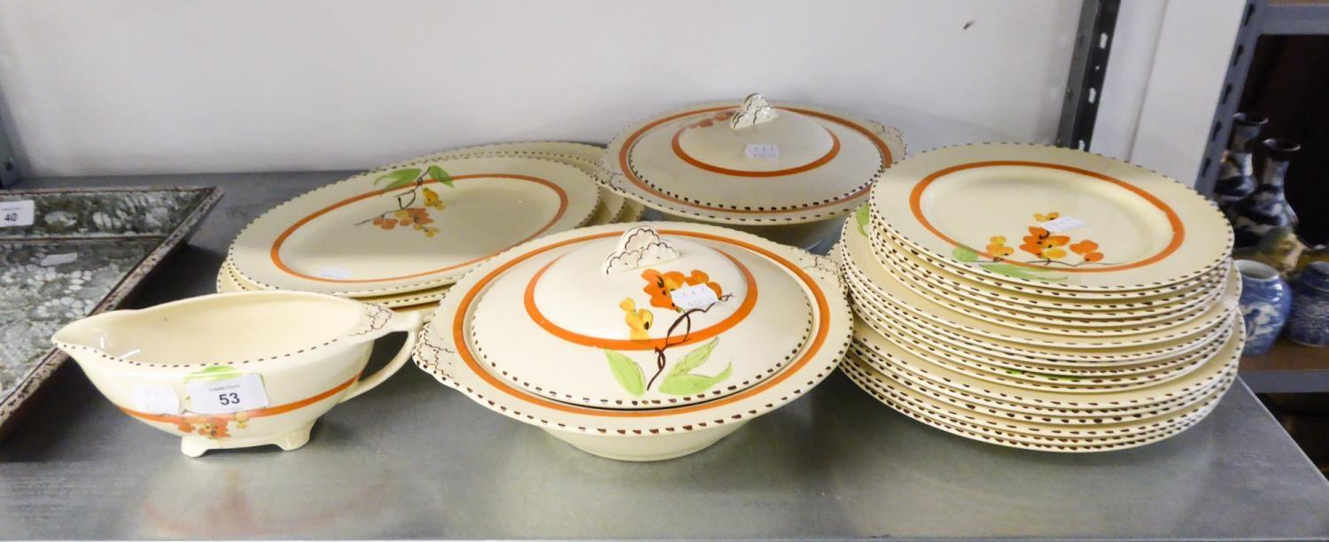 Lot 53 - A MEAKIN 'SUNSHINE' POTTERY DINNER SERVICE FOR 6 PERSONS, WITH HAND PAINTED 'LABURNUM' PATTERN,