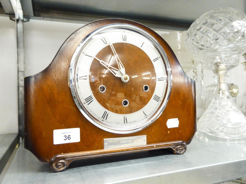Lot 36 - AN OAK CASED MANTEL CLOCK, ENGRAVED '45 YEARS SERVICE, BR WESTERN REGION'