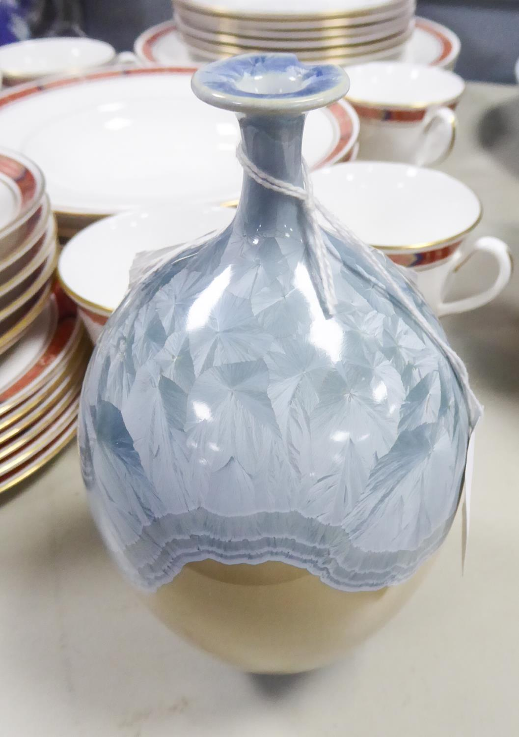 Lot 19 - STUDIO POTTERY VASE, ovoid with slender trumpet shaped neck, small circular base, the top half