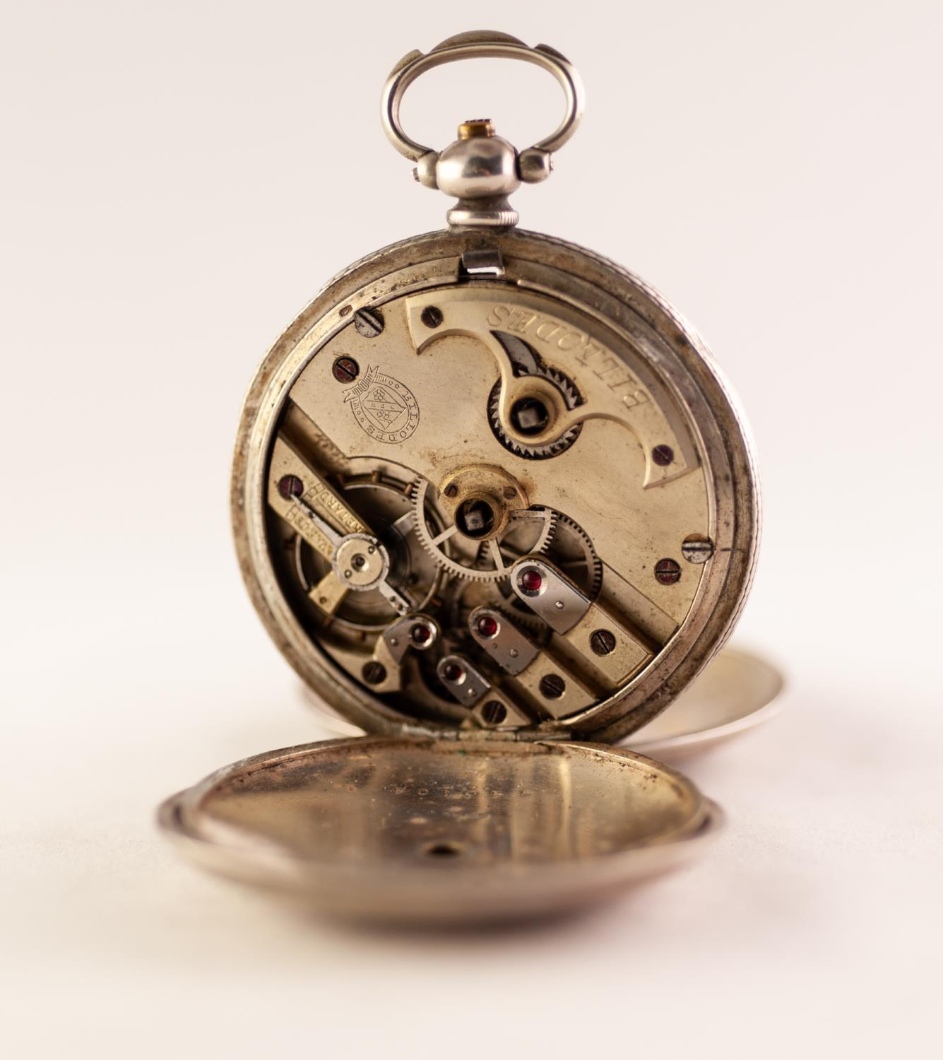 Lot 23 - TURKISH FULL HUNTER SILVER POCKET WATCH BY K. SERKISOFF & CO, CONSTANTINOPLE White dial floral