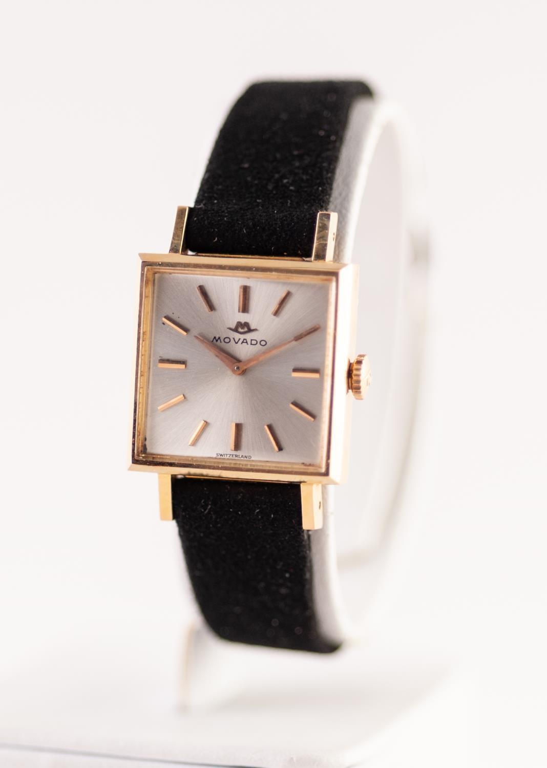 Lot 11 - A LADIES 18CT GOLD CASED MOVADO WRISTWATCH 17 jewel movement signed Movado, square shape signed