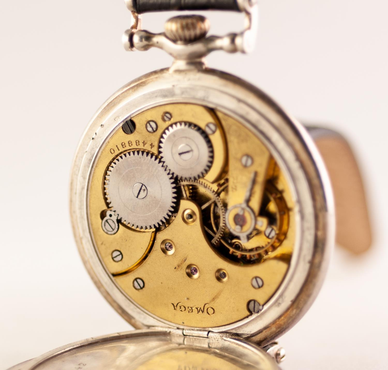Lot 35 - OMEGA SILVER GRAND PRIX PARIS 1900 POCKET WATCH With wristwatch attachments, enamel signed white