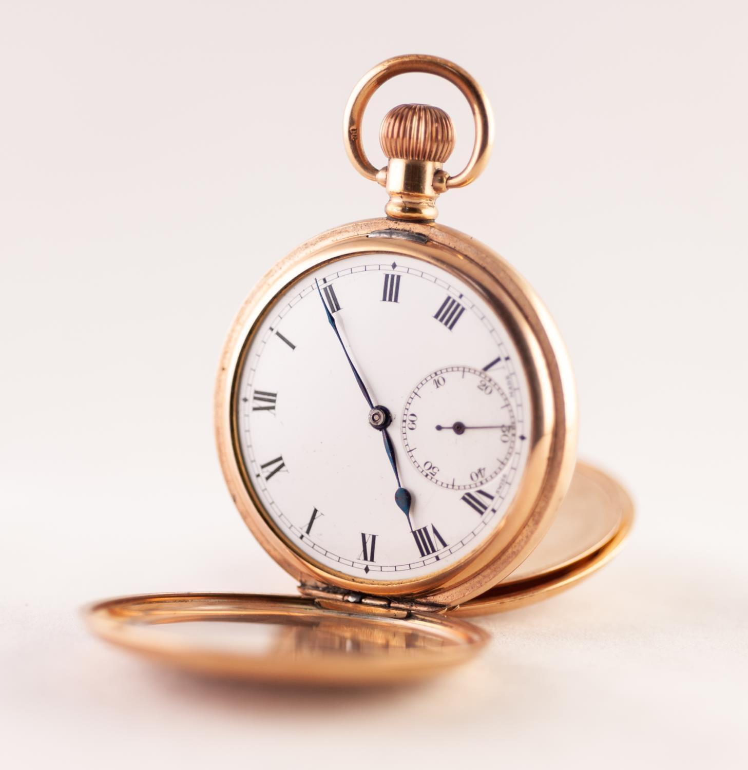 Lot 13 - A GOLD PLATED HUNTER POCKET WATCH 16 jewel movement signed DF&C, white enamel dial with Roman