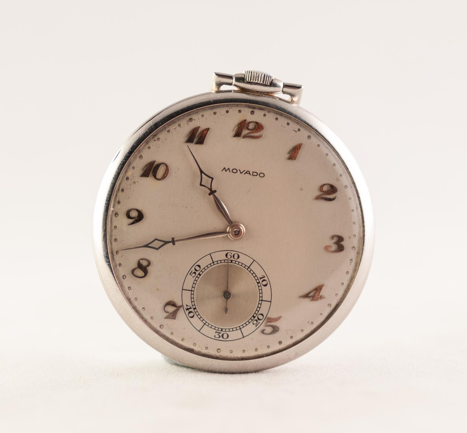 Lot 14 - MOVADO SWISS OPEN FACED DRESS POCKET WATCH IN PLATINUM CASE no 253908/02588, sixteen jewel keyless