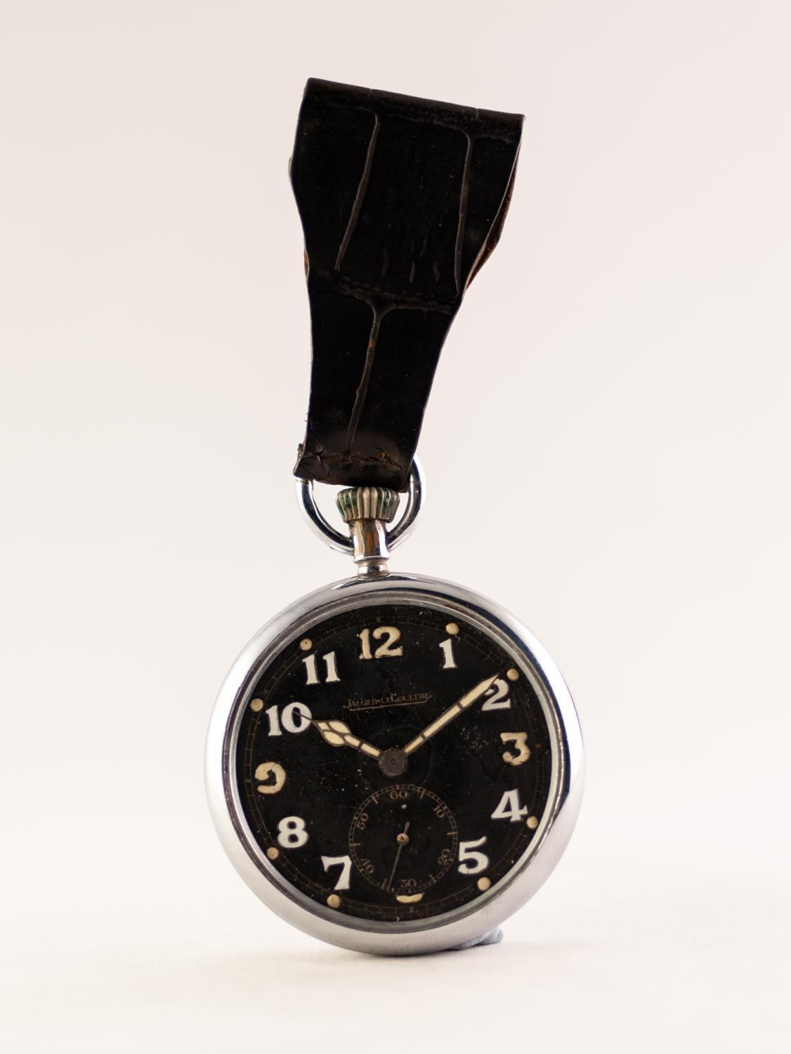 Lot 34 - JAEGER LE COULTRE WW11 MILITARY SILVER PLATED OPEN FACE POCKET WATCH Black dial with Arabic hour