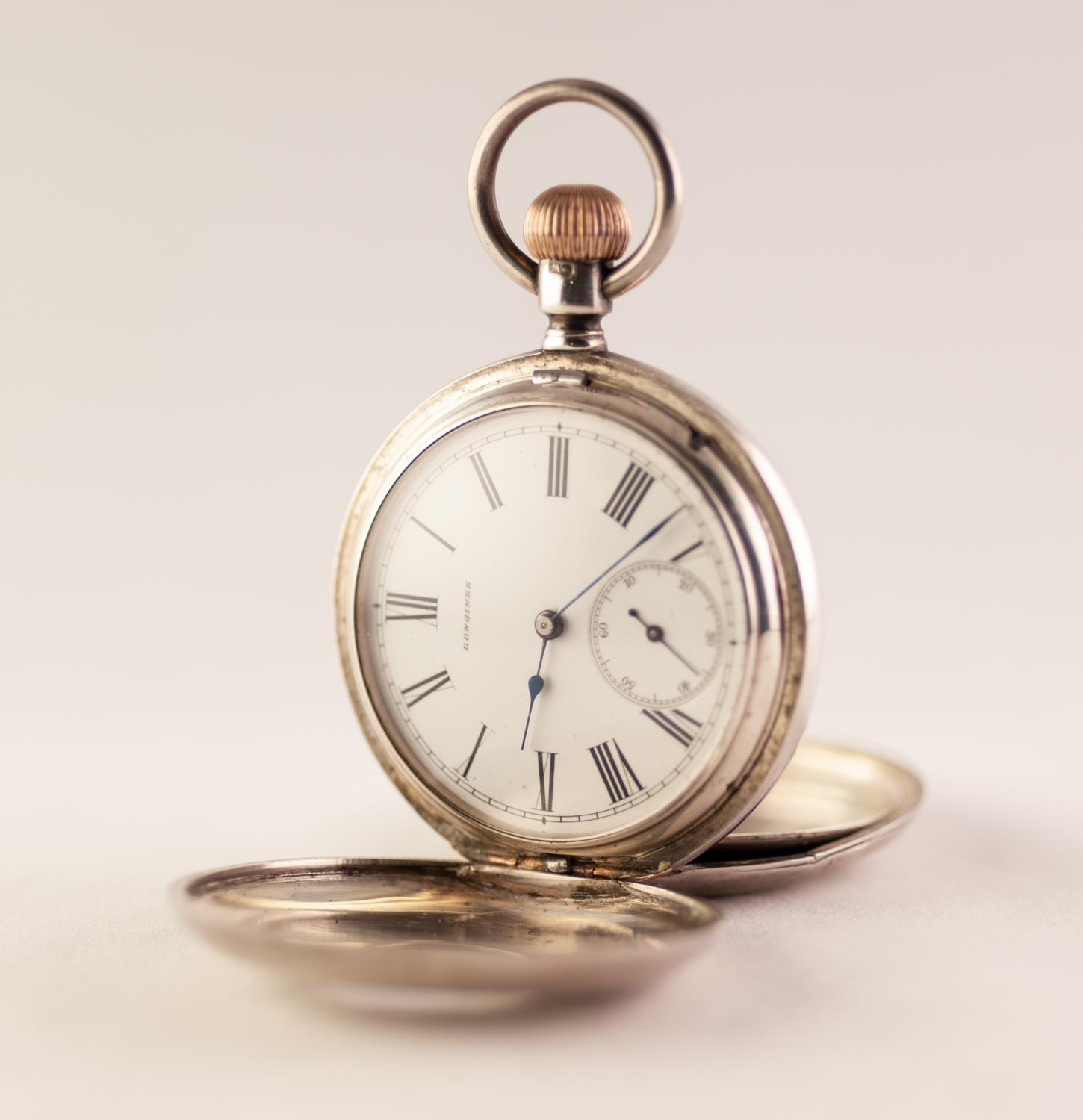 Lot 17 - A LATE VICTORIAN LONGINES SILVER HALF HUNTER POCKET WATCH White Roman numeral dial with subsidiary