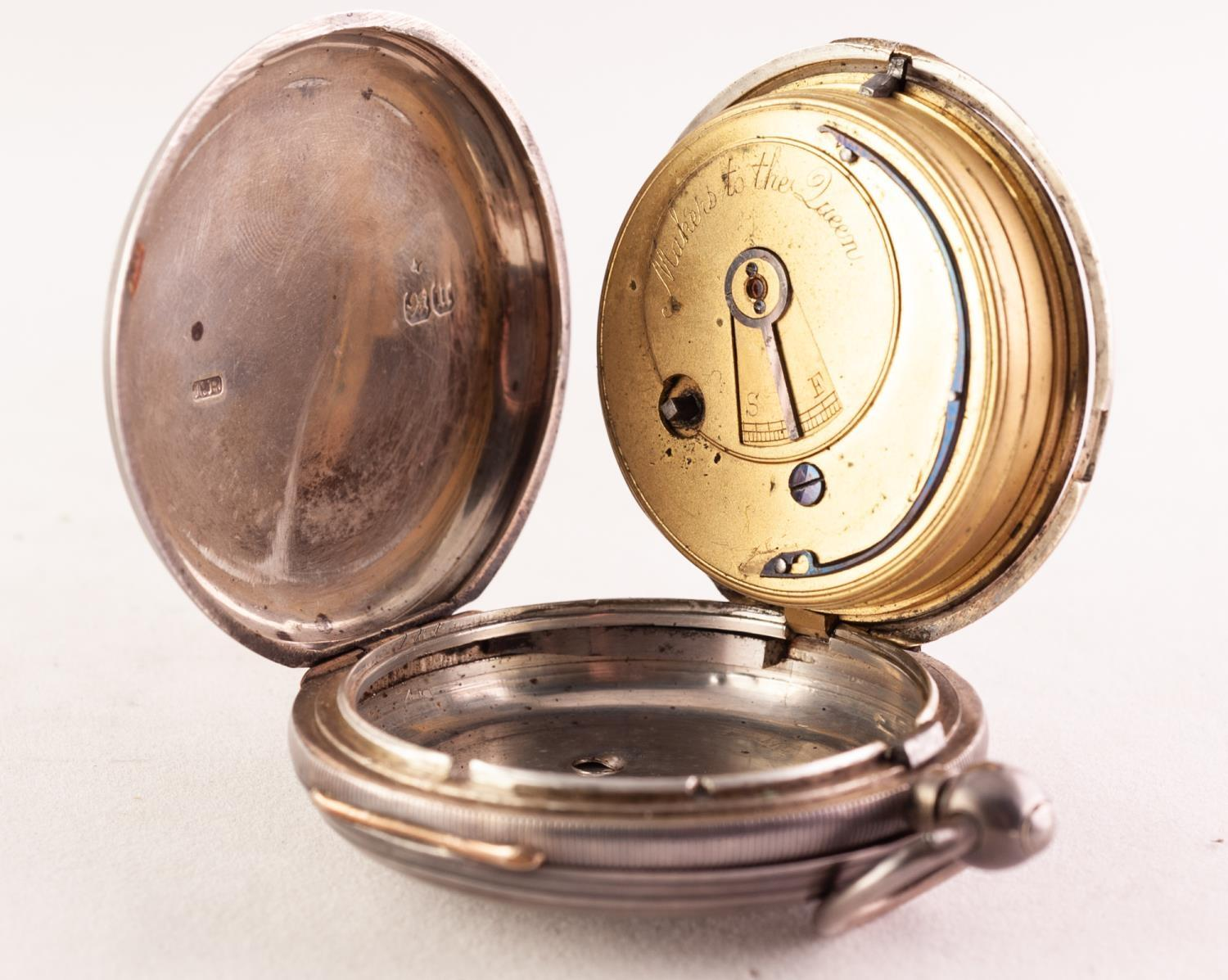 Lot 54 - A LATE VICTORIAN SILVER HUNTER POCKET WATCH, THOS RUSSELL & SONS, 12 CHURCH ST, LIVERPOOL The