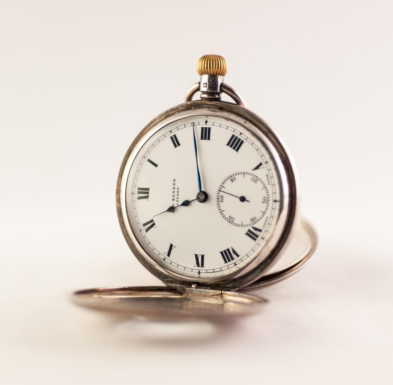Lot 30 - J.W. BENSON, LONDON, SILVER HALF HUNTER POCKET WATCH, 15 JEWEL MOVEMENT White enamel dial with Roman