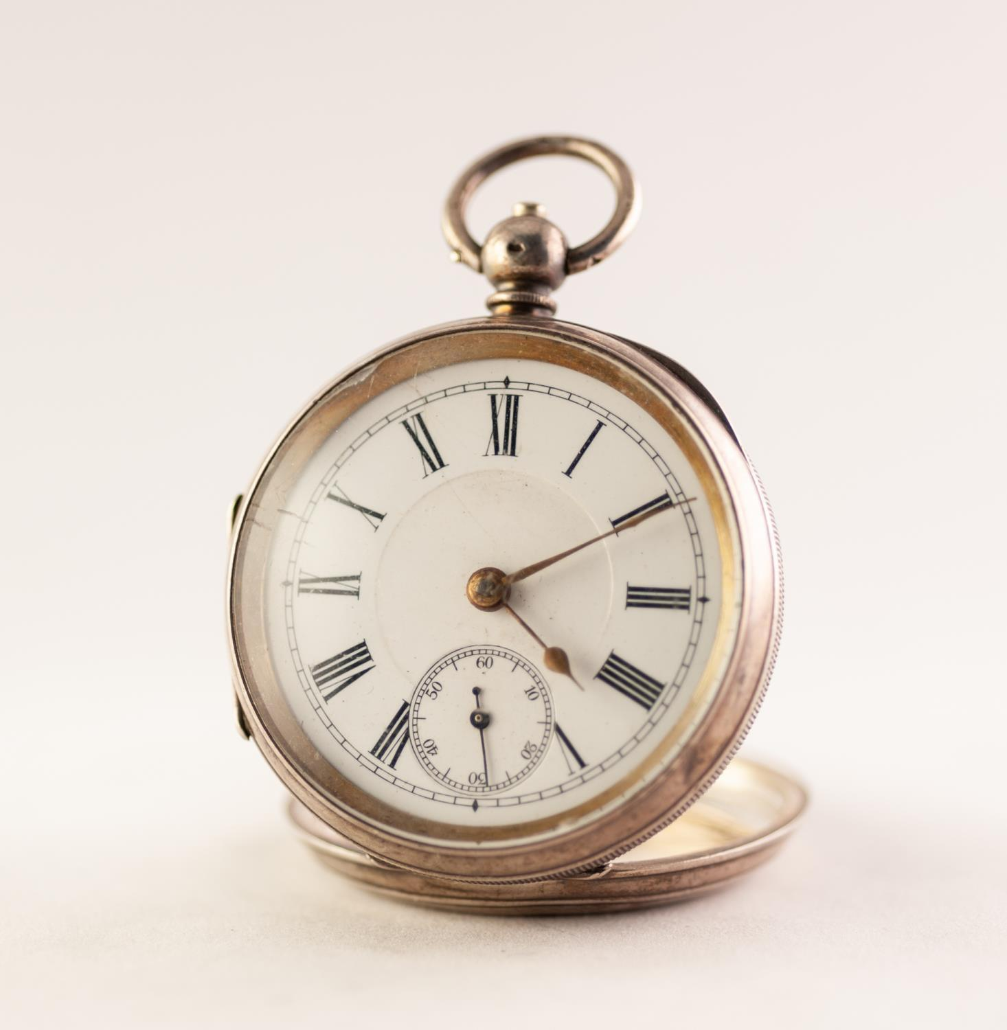 Lot 29 - SILVER OPEN FACE POCKET WATCH White enamel dial with Roman numerals and subsidiary seconds dial