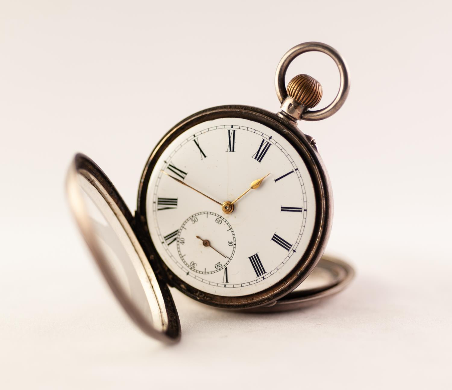 Lot 32 - SILVER OPEN FACE POCKET WATCH White enamel dial with Roman numeral hour markers, subsidiary