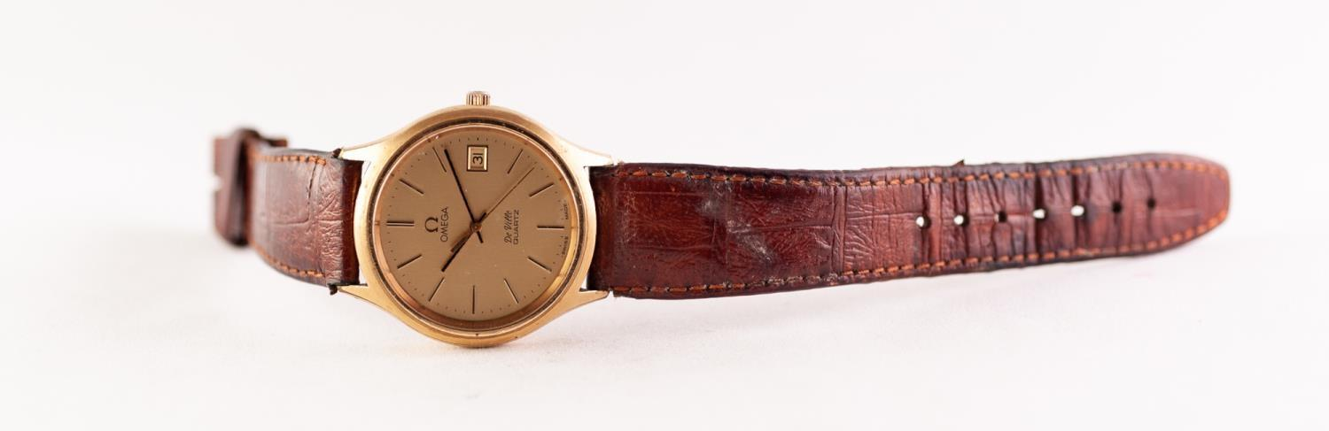 Lot 53 - A 1970's GENTS OMEGA DE VILLE QUARTZ GOLD PLATED AND STAINLESS STEEL WRIST WATCH, Calibre 1342,