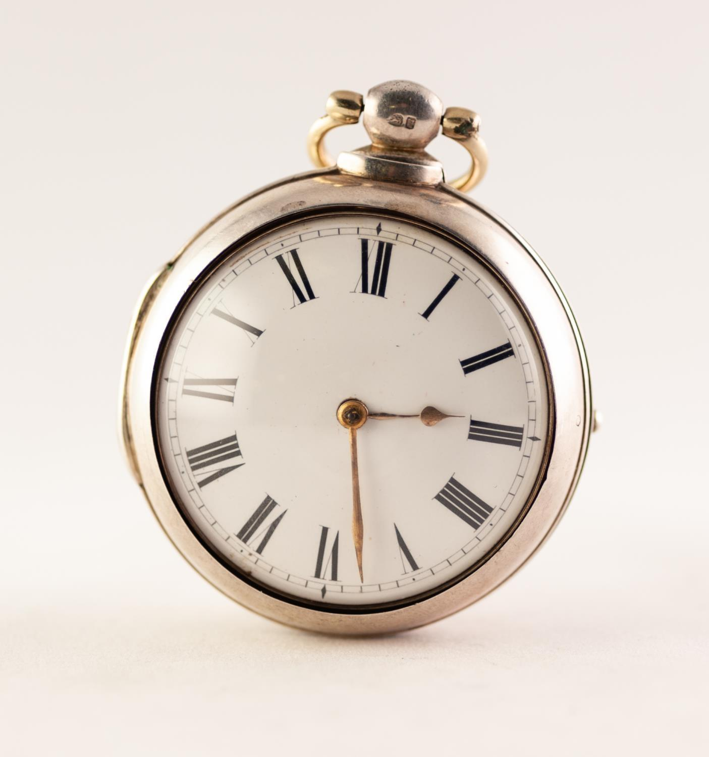 Lot 25 - GEORGIAN SILVER PAIR CASED POCKET WATCH, FUSEE MOVEMENT SIGNED EATON, LONDON White enamel dial