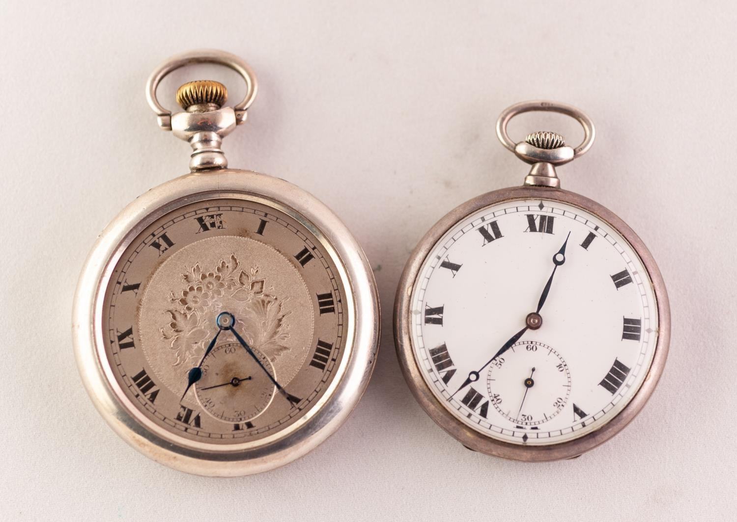 Lot 42 - TWO OPEN FACE POCKET WATCHES To include a silver pocket watch with keyless movement, together with a