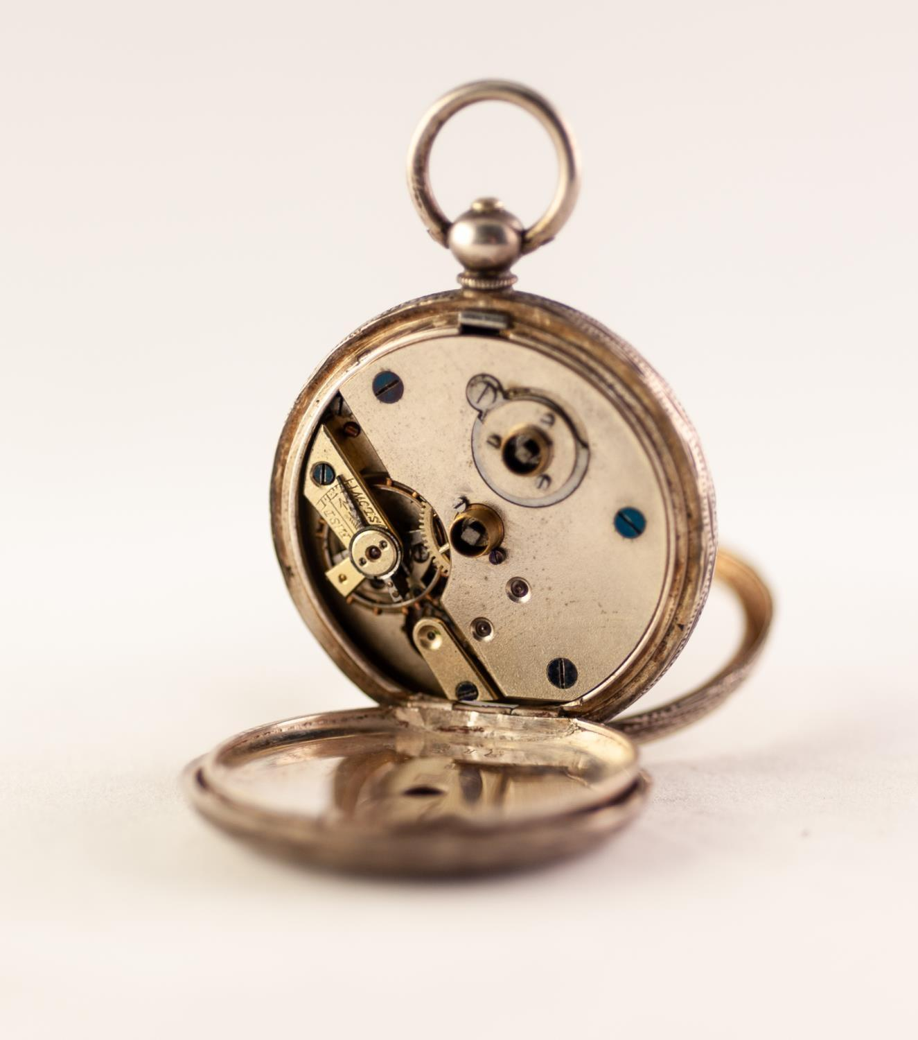 Lot 26 - LADIES OPEN FACE SILVER POCKET WATCH White enamel dial with Roman numerals, gilt detailing, Swiss