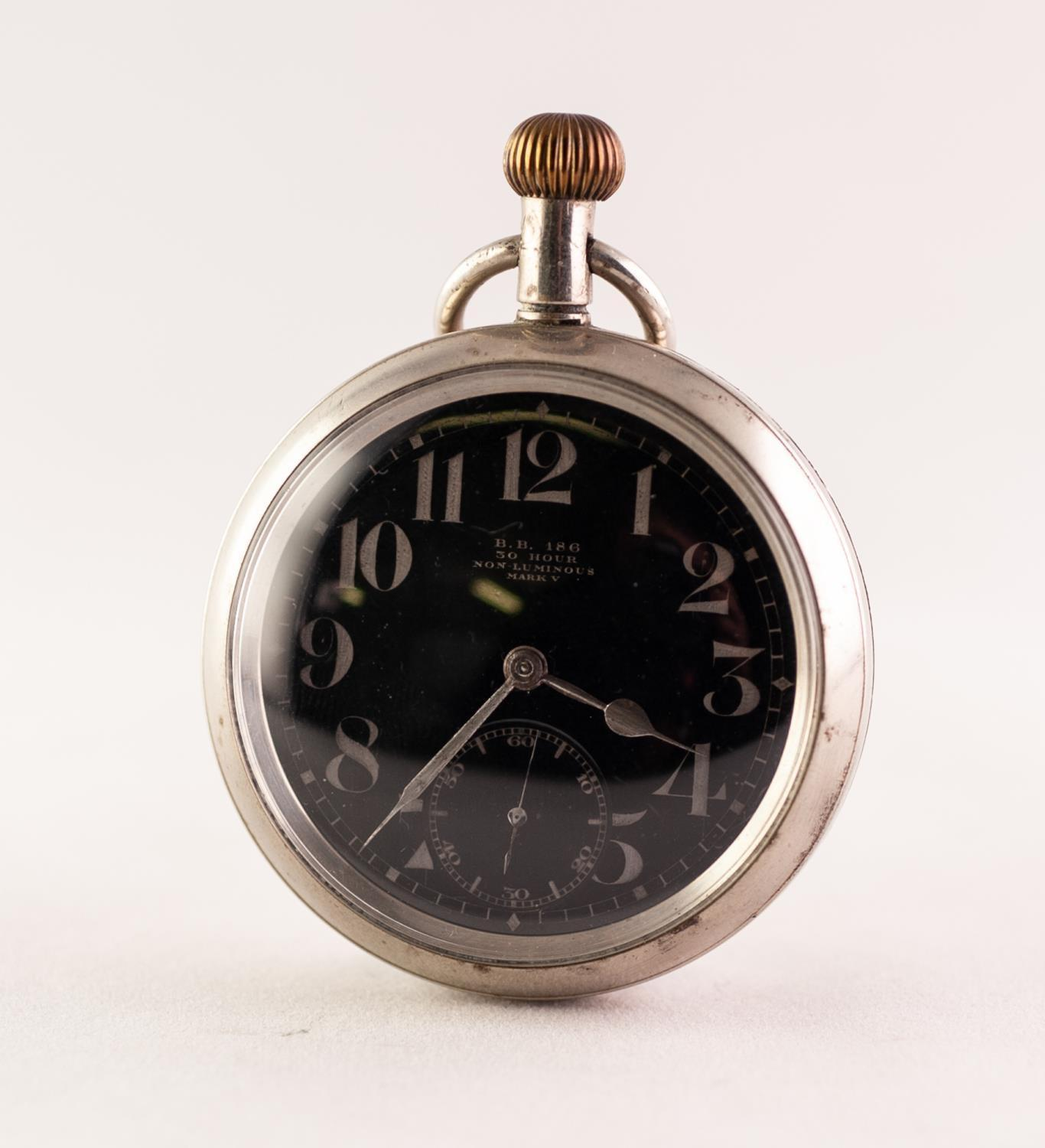 Lot 45 - A MILITARY ISSUE NICKEL CASED OPEN FACE POCKET WATCH, B.B. 186 Circular black dial with Arabic