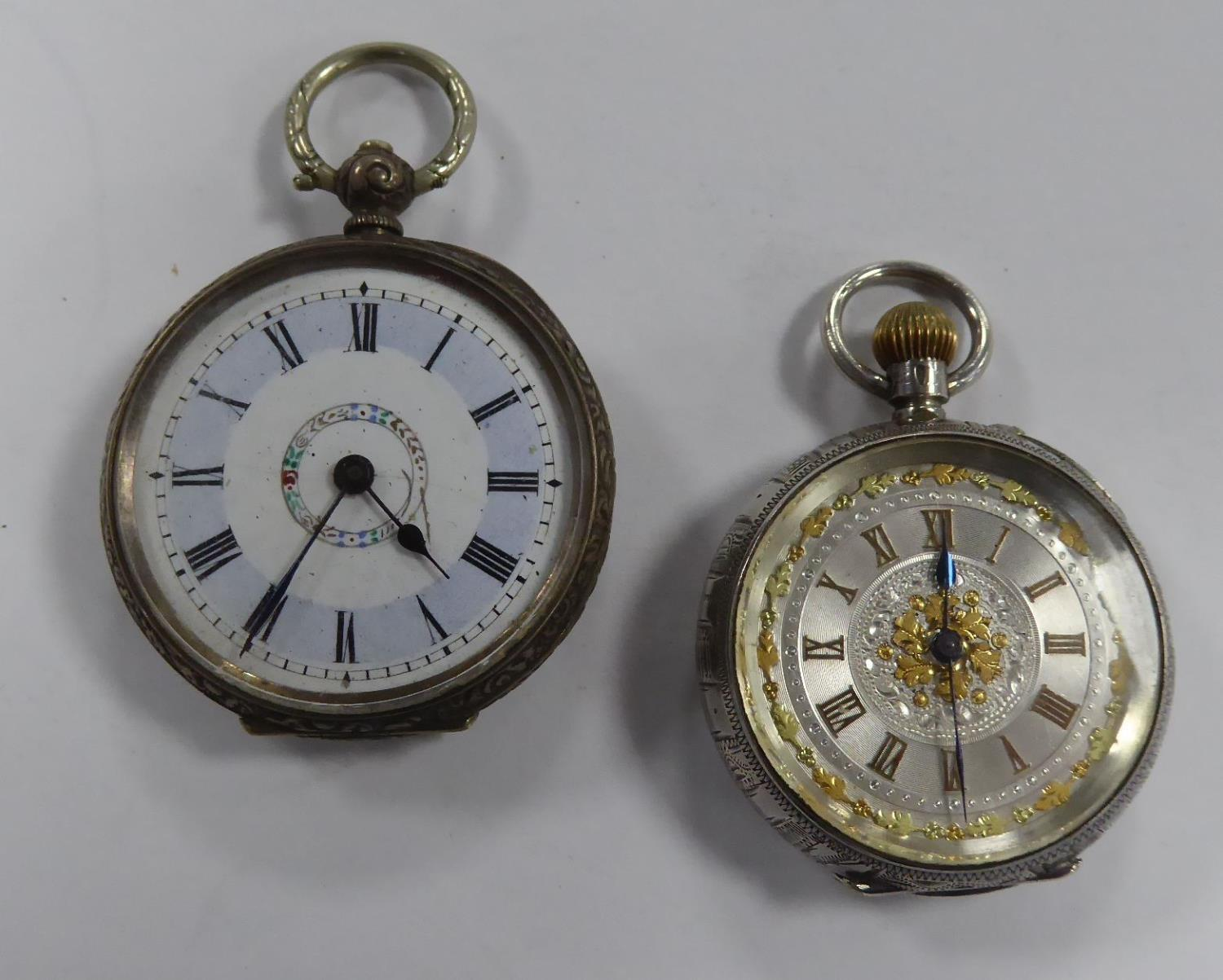 Lot 40 - TWO LADIES OPEN FACE POCKET WATCHES One with a keyless movement, the circular shape dials with Roman
