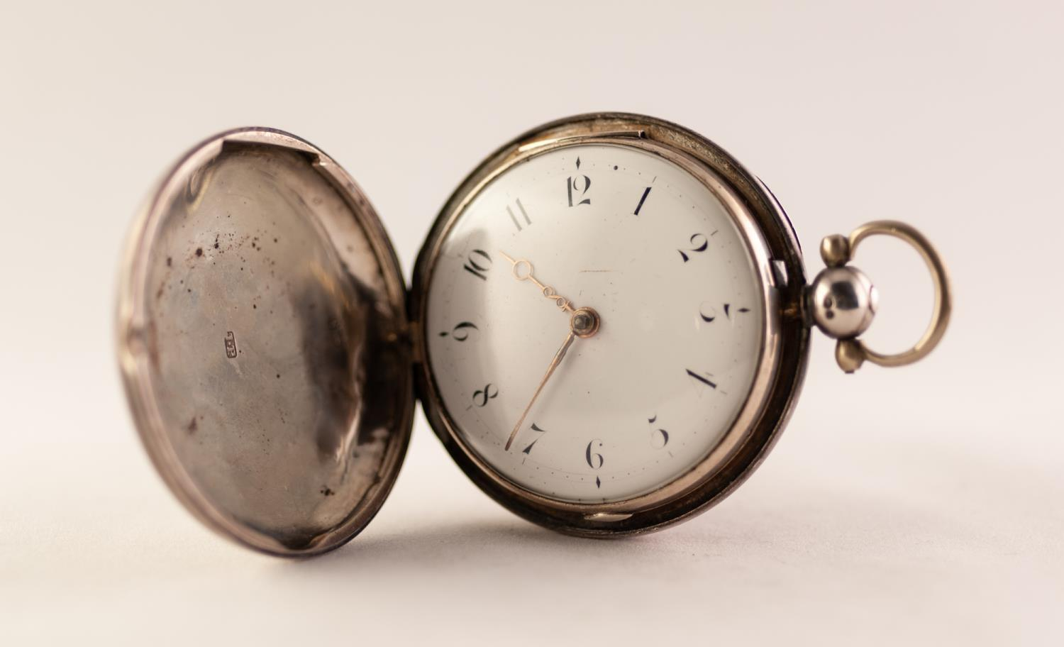 Lot 20 - WILL?M READ, SILVER FULL HUNTER POCKET WATCH, fusee movement dated 1819, white enamel Arabic dial