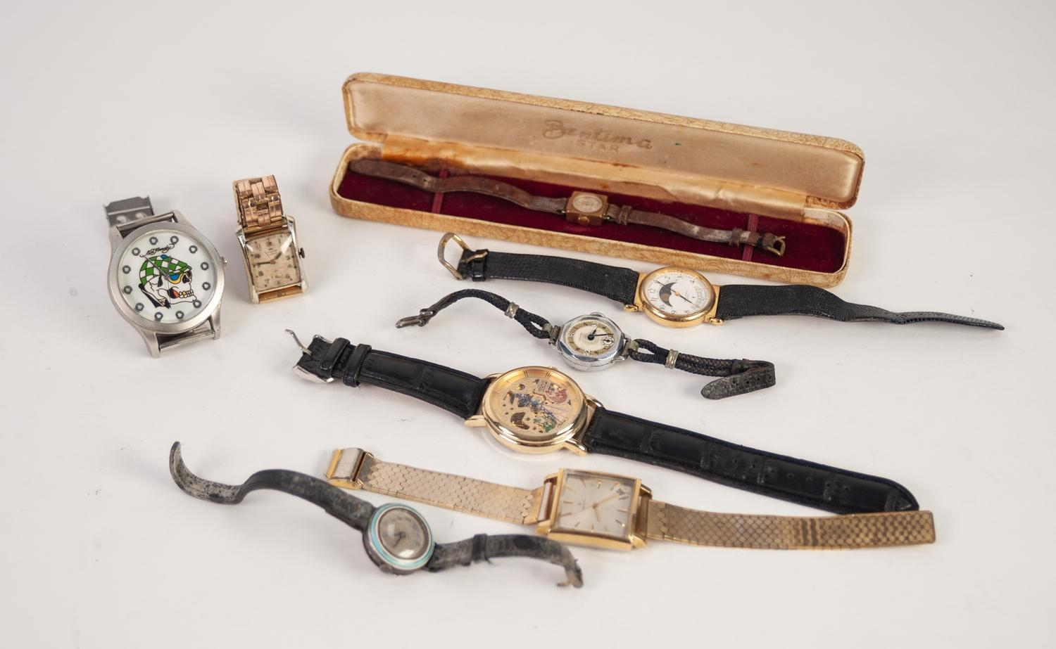 Lot 39 - A SELECTION OF WRISTWATCHES To include a case Bentina ladies 17 jewel wristwatch, an early 20th