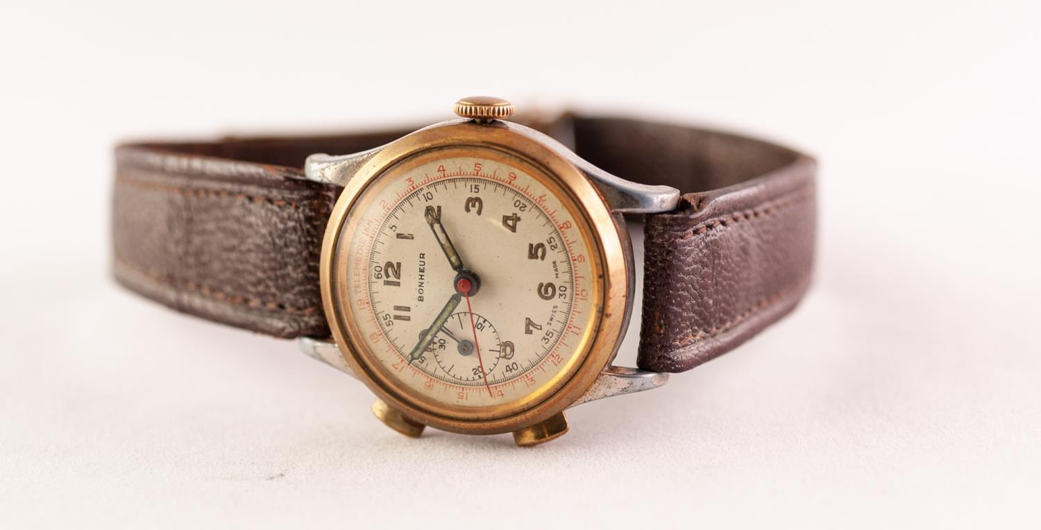 Lot 60 - A BONHEUR AUTOMATIC WRISTWATCH The circular cream dial with Arabic hour markers and subsidiary