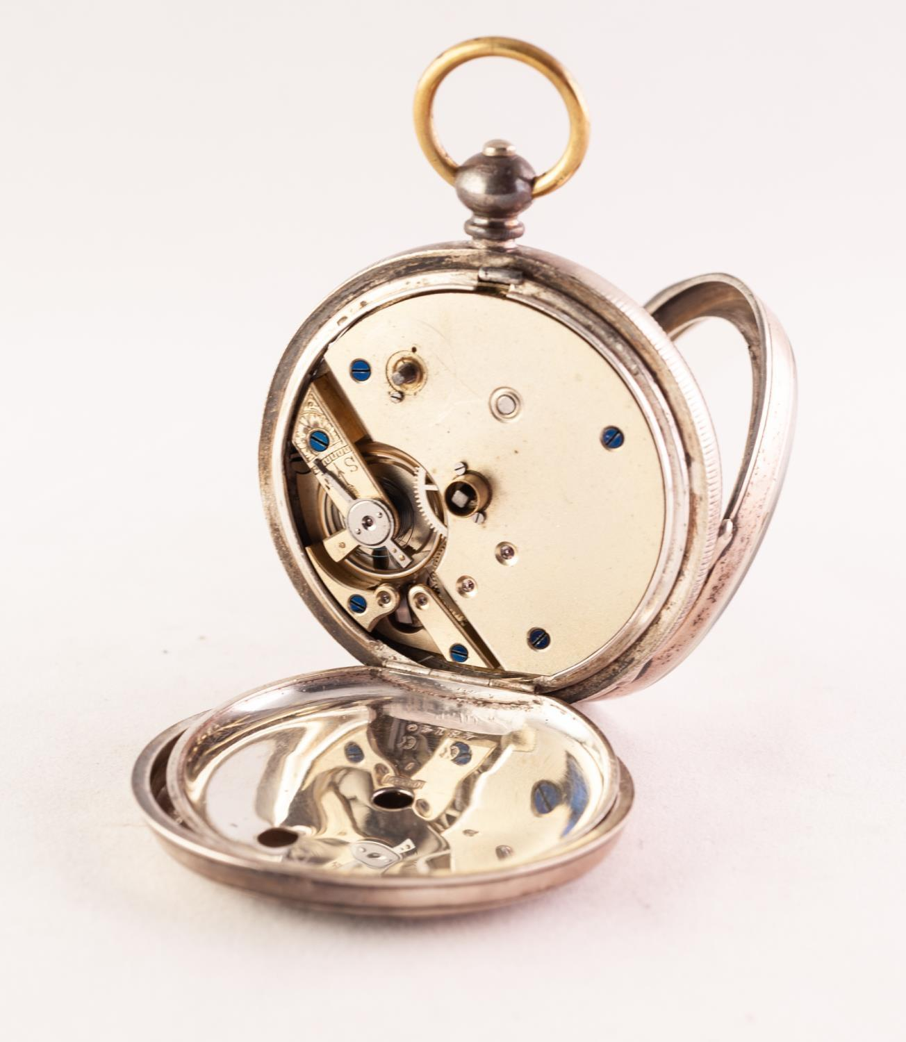 Lot 55 - A SILVER OPEN FACE POCKET WATCH The circular white enamel dial with Roman numeral hour markers,