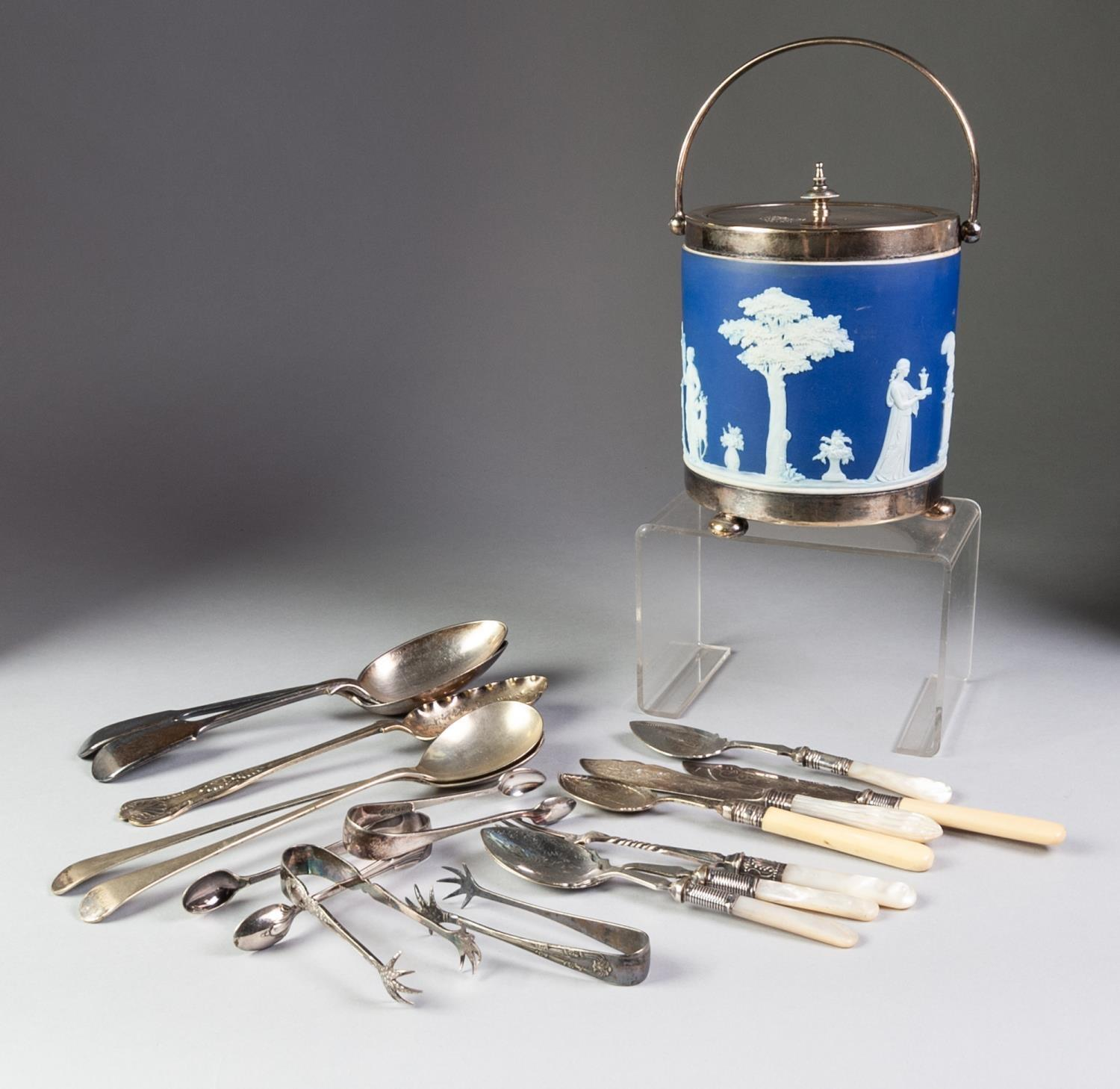Lot 396 - WEDGWOOD BLUE AND WHITE JASPERWARE AND ELECTROPLATE BISCUIT BARREL with plated lid swing handle