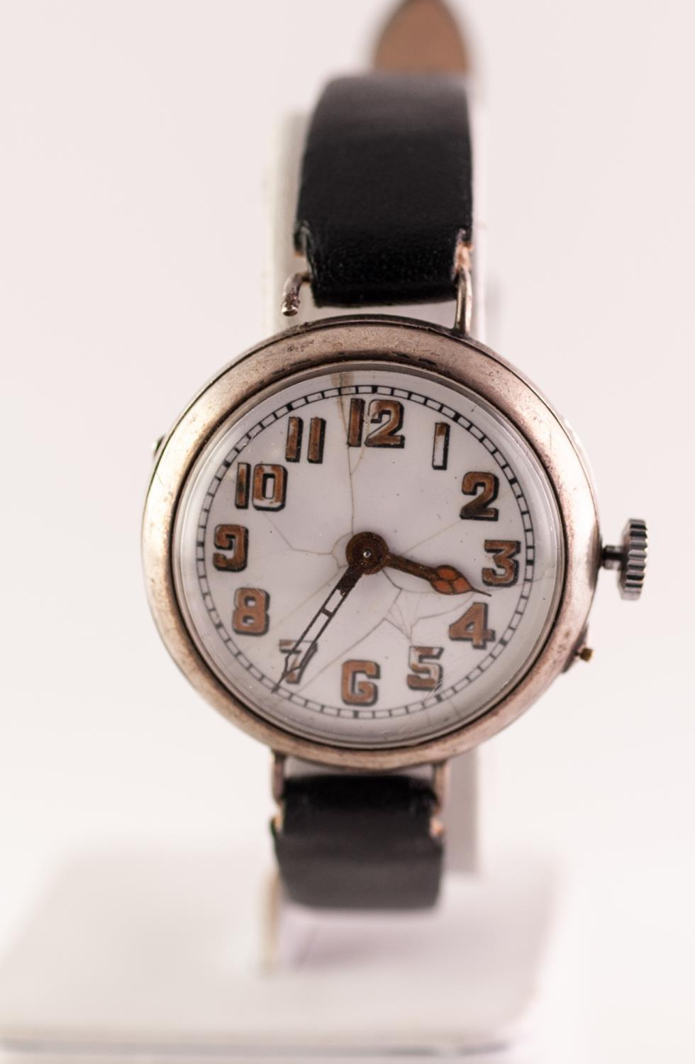 Lot 59 - SILVER MILITARY STYLE AUTOMATIC WRISTWATCH The circular white enamel dial with Arabic hour