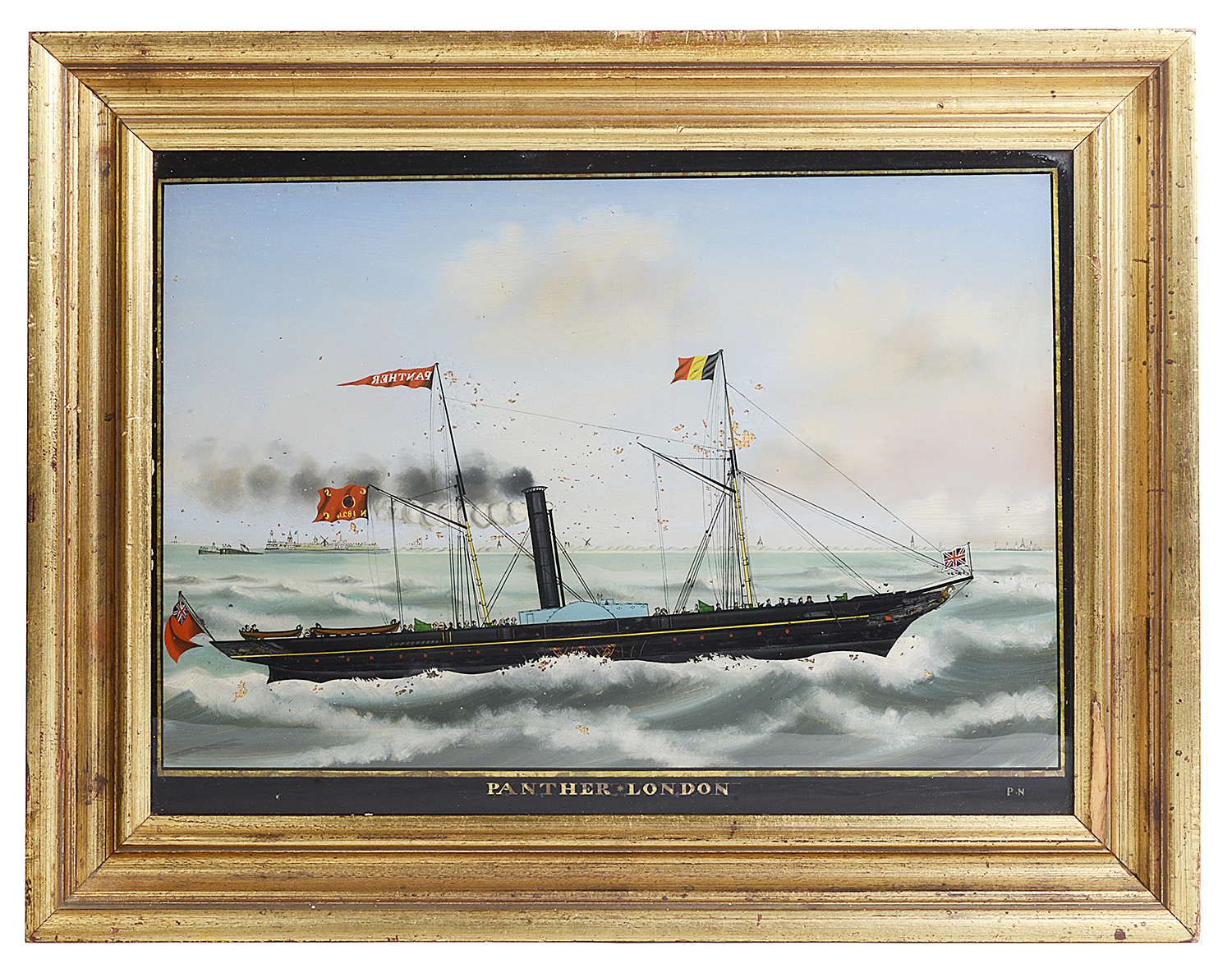 Lot 49 - A late 19th century reverse painting on glass of paddle steamer 'Panther'