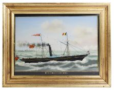 A late 19th century reverse painting on glass of paddle steamer 'Panther'