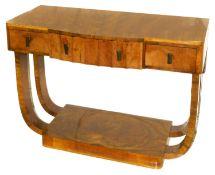 An Art Deco mahogany console table