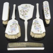 A contemporary silver and enamel brush and mirror set, hallmarked Birmingham, 1960