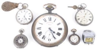 A collection of silver and silver-plated pocket watches,