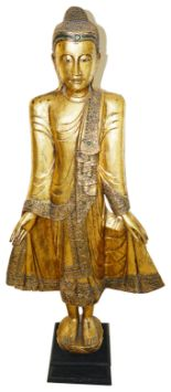 Lot 8 - A large vintage decorative wooden figure of a Buddha