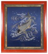 A large late 19th century Japanese silk and gold thread embroidery of a swimming carp