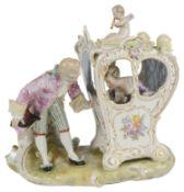 A German porcelain Meissen style figure group, c1900
