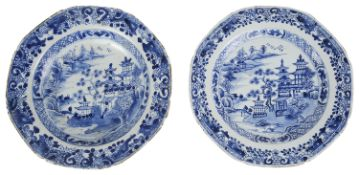 A Chinese blue and white export porcelain dinner plate and matching soup plate