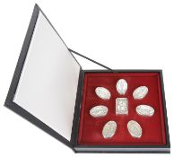 Eight Franklin Mint 'The Guards Regiments' sterling silver boxes, in a fitted case