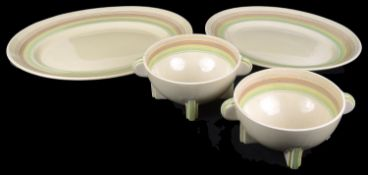 Two 1930's Clarice Cliff 'Bizarre' pattern bowls and two meat platters