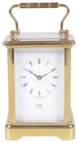 Lot 32 - A brass cased carriage clock, retailed by Cape Jewellers