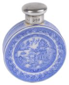 A Victorian Sampson Mordan silver mounted Willow pattern ceramic miniature scent bottle