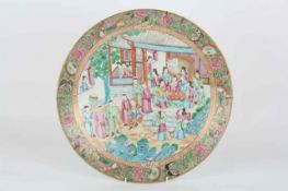 A large Chinese famille rose circular charger