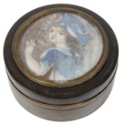 A 19th century treen box inset a portrait on ivory