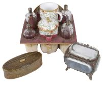 A Continental porcelain and glass travelling set, c1900