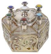 A vintage cased set of Penhaligon's enamelled glass perfume bottles