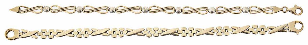 Two fancy link 9ct gold bracelets