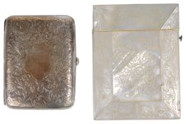 An Edwardian silver cigarette case and a Victorian mother of pearl card case