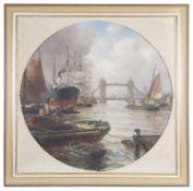 Arthur Wilde Parsons (Brit., 1854 - 1931) 'Tower Bridge' oil on canvas